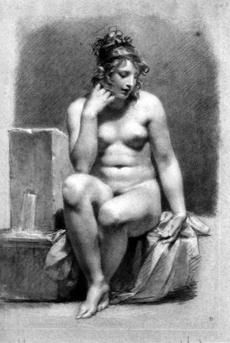 Seated Female Nude By A Fountain