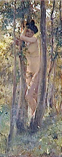 Young Woman, Nude, Under A Tree