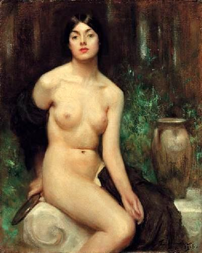 A Female Nude At Her Toilet