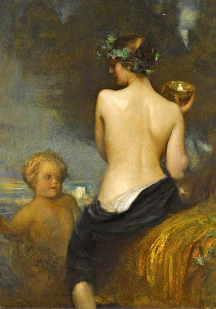 A.Hacker - A Nude Bacchante With A Child Faun