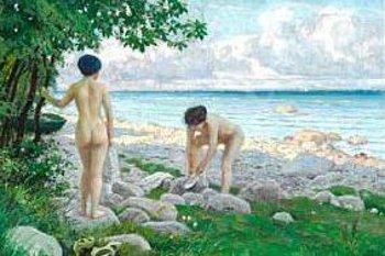 Bathers At Hornbaek Beach