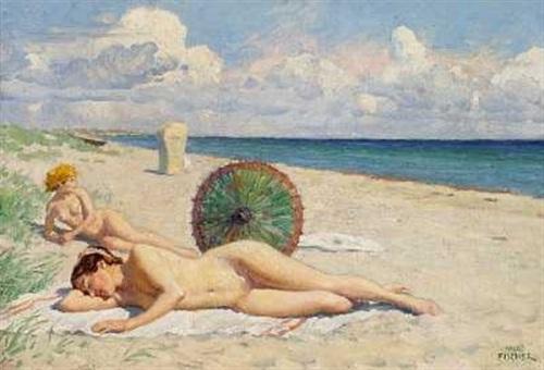 Bathers On Hornbaek Beach