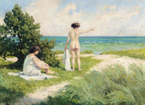 Bathers Resting On Sand Dunes