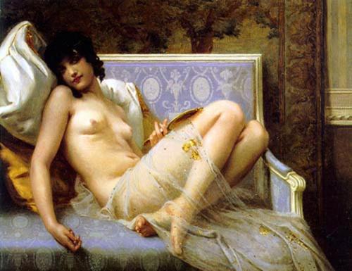 Jeune femme denudée sur canape