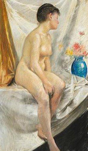 Model With Blue Vase