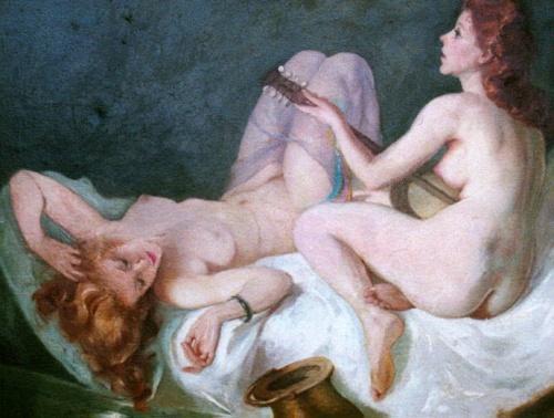 Muziekspel van twee naakte vrouwen op bed.bmp