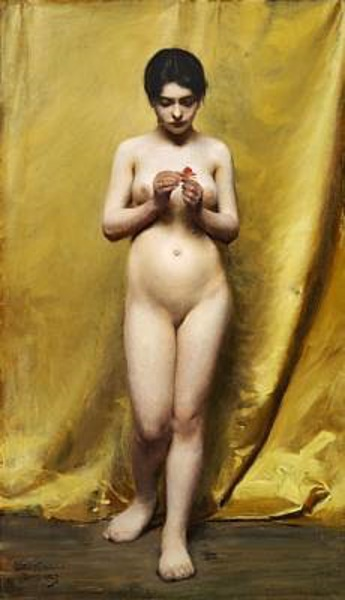 Nude With A Red Flower In Her Hand Standing In Front Of A Yellow Curtain