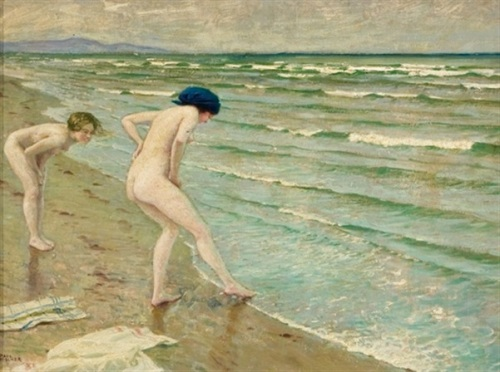 Two Bathers Along The Shore