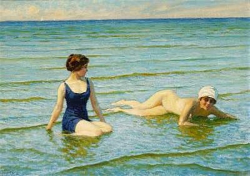 Two Bathers On The Beach At Summer