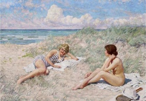 Two Bathers On The Dunes At Hornbaek