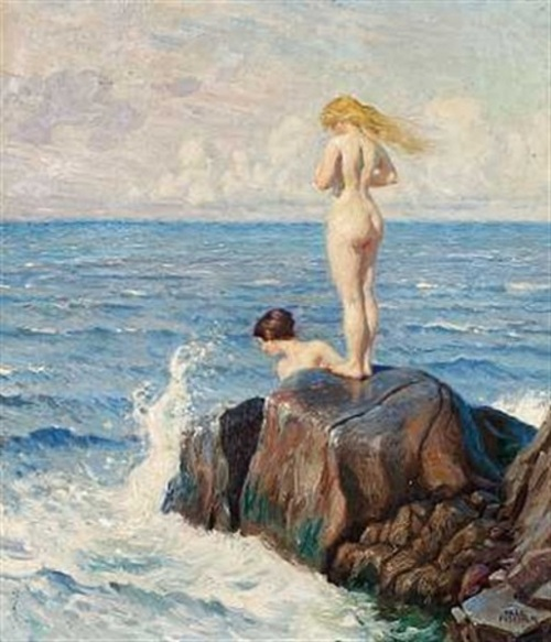 Two Bathers On The Rocks