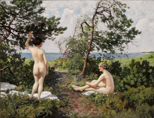 Two Bathing Girls In The Bushes Near The Coast Of Hornbaek
