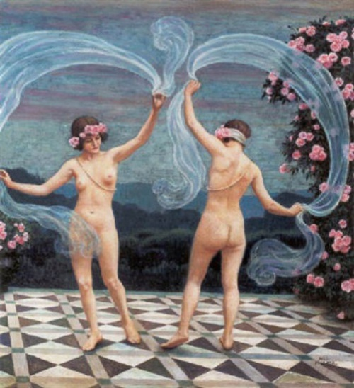 Two Girls Dancing On The Terrace With Marble Tiles
