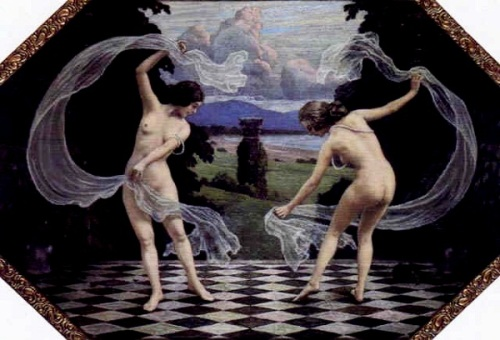 Two Girls Dancing With Veils In Jutland Landscape