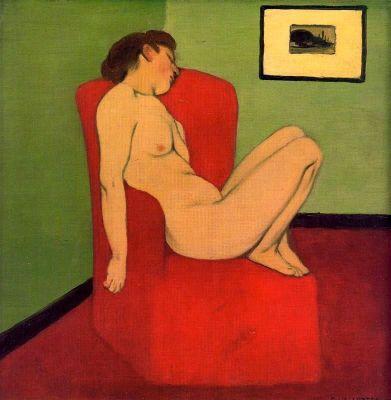 Femme nue assise dans un fauteuil rouge