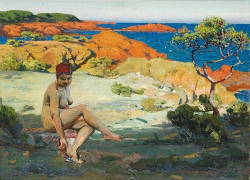 Bathing Beauty In Front Of The Red Rocks At Agay