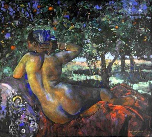 Femme dans une orangeraie