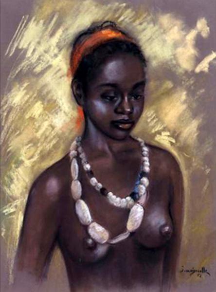 Femme noire au collier