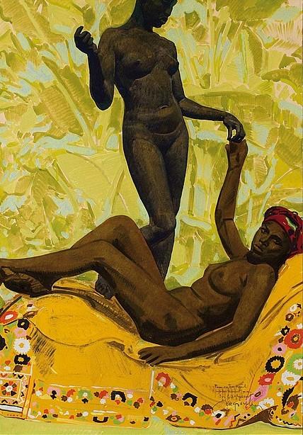 Harmonie jaune - Deux nus alanguis