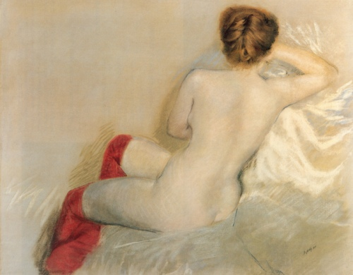 nudo con le canze rosse