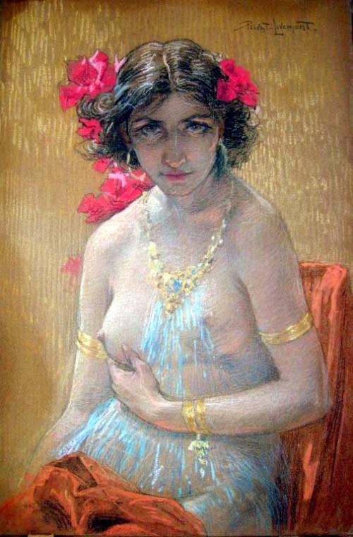 Femme nue aux azalées