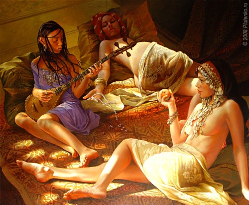 Girls On The Arabic Bedspread