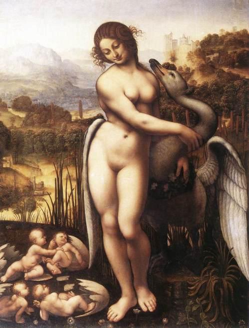 Leda e il cigno (sull'originale perduto di Leonardo da Vinci)