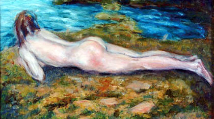 Reclining Nude Near Stream