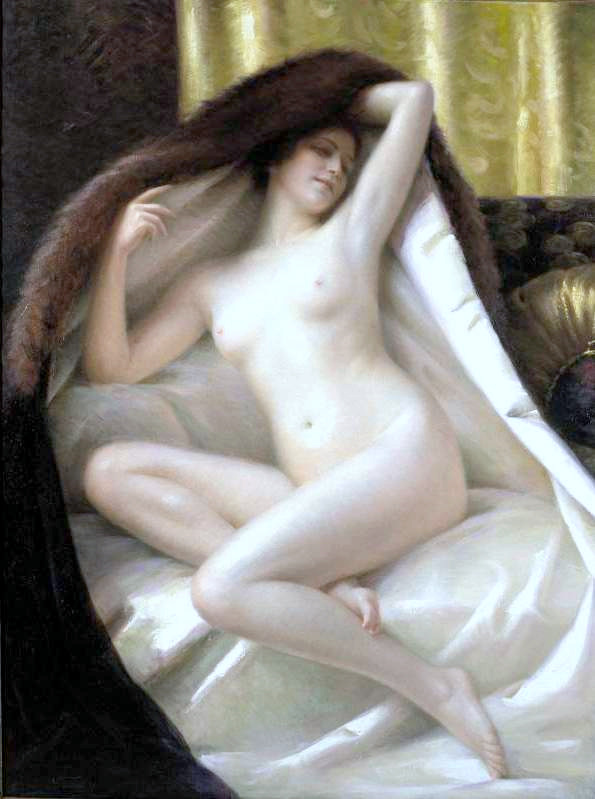 Young Woman Wrapped In A Fur Blanket