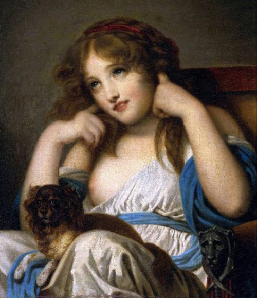 Young Girl With A Spaniel