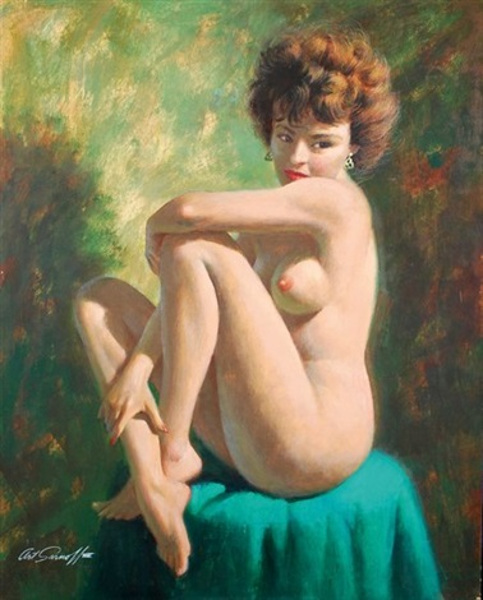 nude-seated-on-a-green-hassock