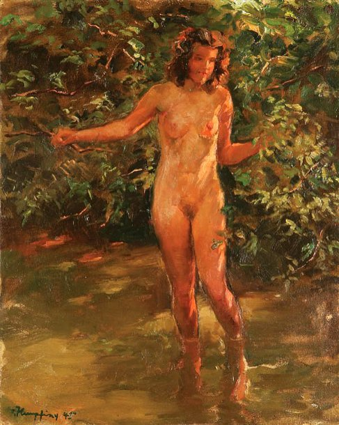Nude Bather In Stream