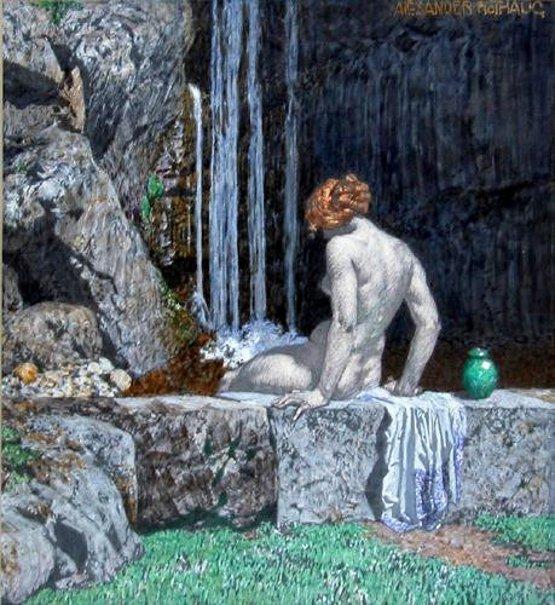 Nude Bathing In Waterfall