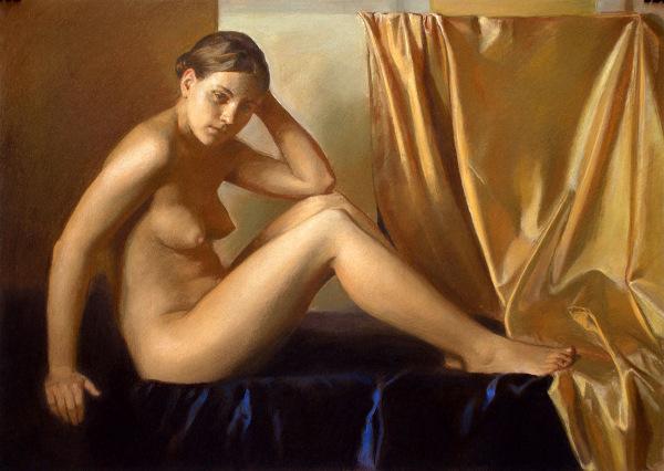 Nude On Dark Blue