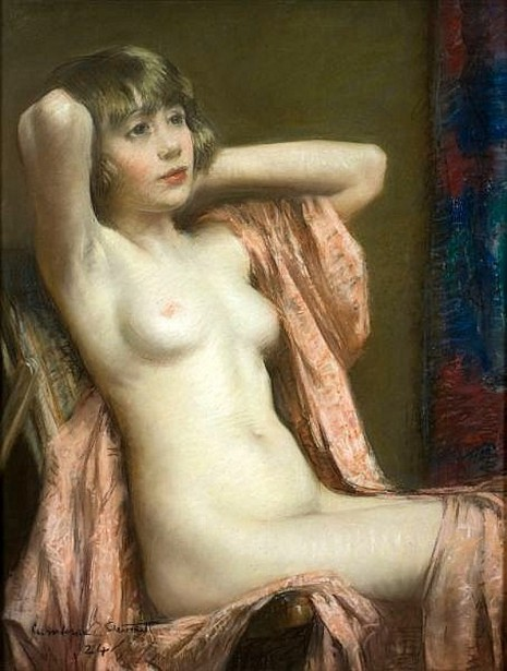 Seated Nude With Pink Shawl
