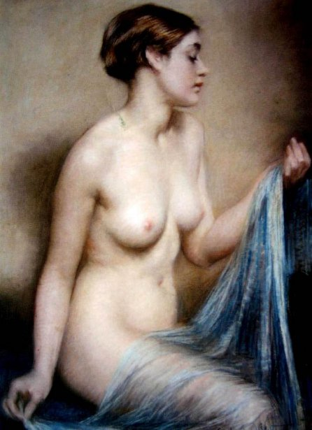 Nude With A Blue Shawl