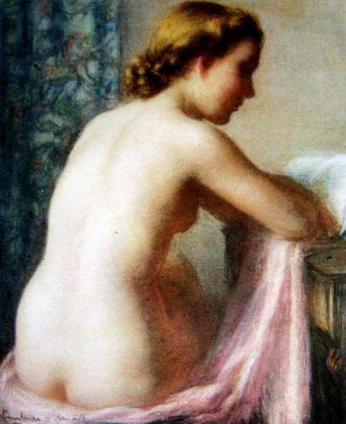 Nude With Pink Towel