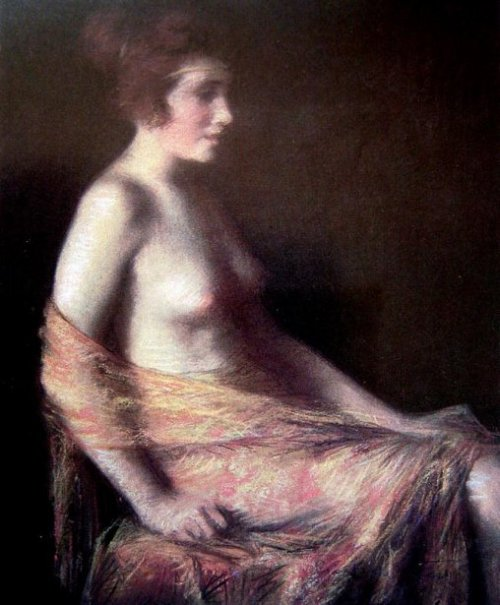 Nude Woman With Chiffon Stole