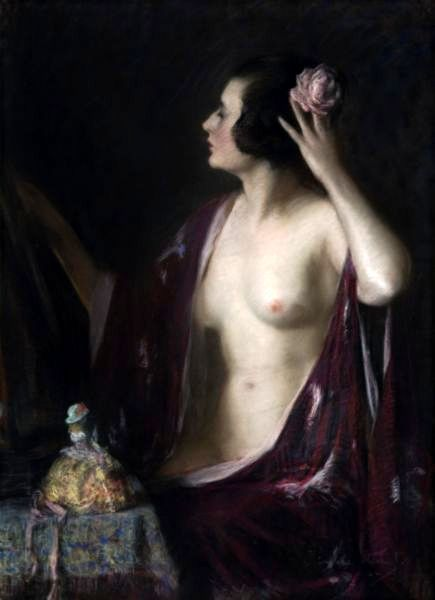 Woman With Red Shawl And Rose