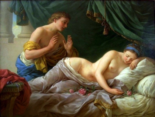 Young Woman Sleeping On A Bed Of Roses