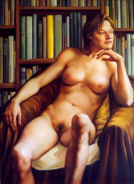Female Nude Before A Bookcase