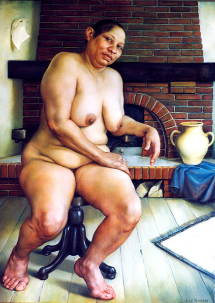 Female Nude Before A Fireplace