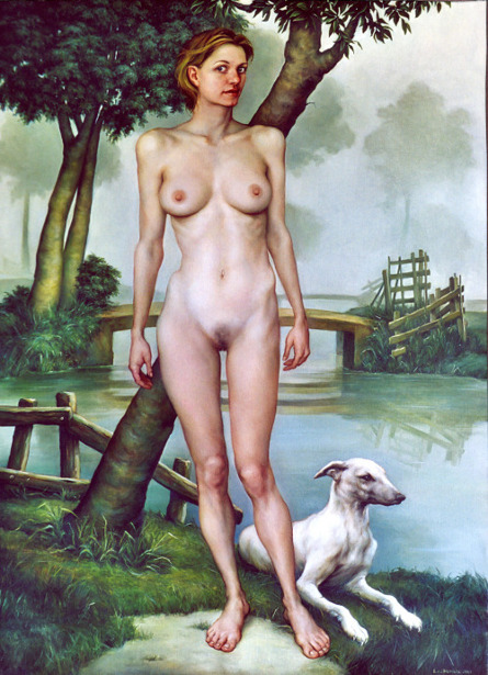 Female Nude With Greyhound