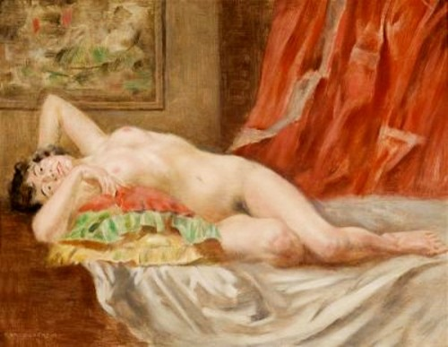 Bertalan-Karlovszky (1858-1938) - Female Nude Before A Red Curtain