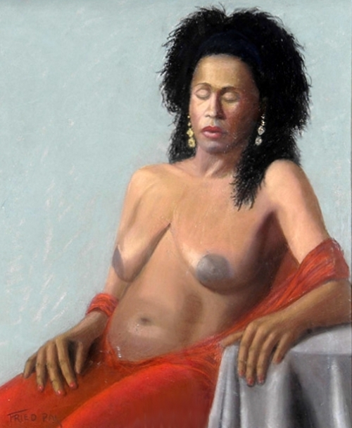 Fried Pal - Nude With Red Shawl