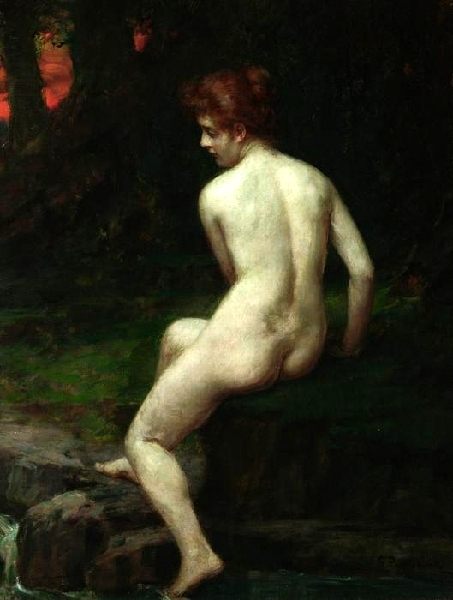 In Thought - Back View Of A Dreamy Woman By A Stream In A Forest