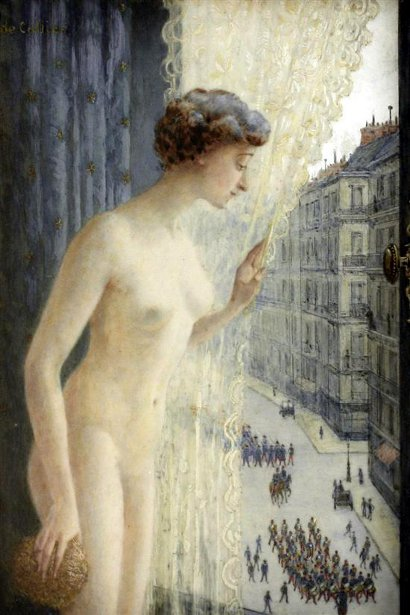 Nude Maiden Looking Down Upon Marching Troops