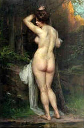 Standing Female Nude In A Forest