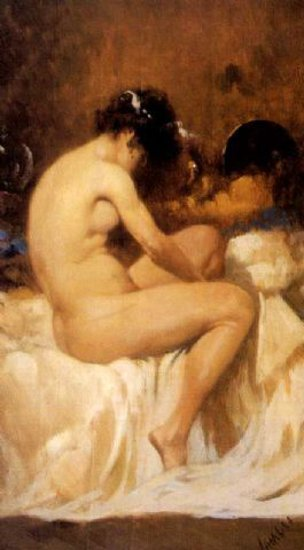 Woman Seated On Her Bed