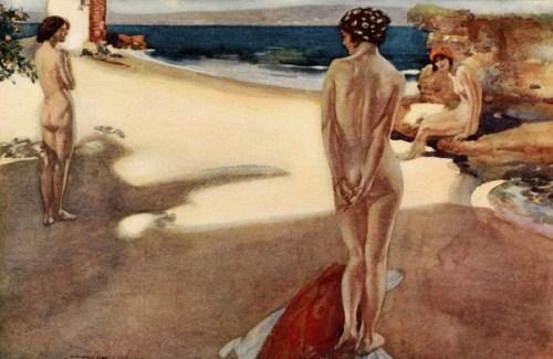Bathers On A Mediterranean Beach